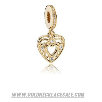 Jewelry Promo Pandora Collections Romantic Heart Pendant Charm 14K Gold Clear Cz