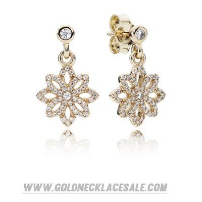 Jewelry Promo Pandora Collections Lace Botanique Drop Earrings Clear Cz 14K Gold