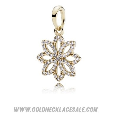 Jewelry Promo Pandora Collections Lace Botanique Pendant Clear Cz 14K Gold