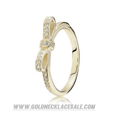 Jewelry Promo Pandora Rings Sparkling Bow Ring Clear Cz 14K Gold