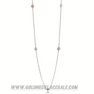 Jewelry Promo Pandora Chains Poetic Blooms Necklace Mixed Enamels Clear Cz Blush Pink Crystal