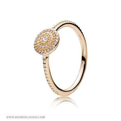 Jewelry Promo Pandora Rings Radiant Elegance Ring 14K Gold Clear Cz