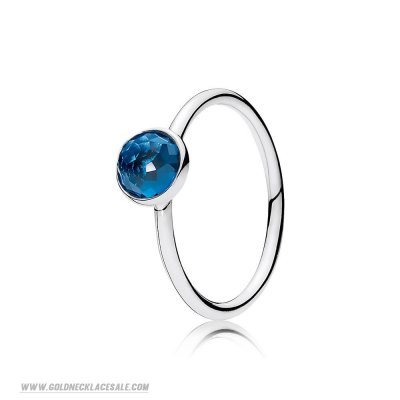 Jewelry Promo Pandora Rings December Droplet Ring London Blue Crystal