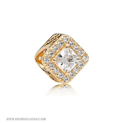 Jewelry Promo Pandora Passions Charms Chic Glamour Geometric Radiance Charm 14K Gold Clear Cz
