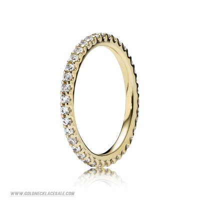 Jewelry Promo Pandora Rings Forever Pave Stackable Ring Clear Cz 14K Gold