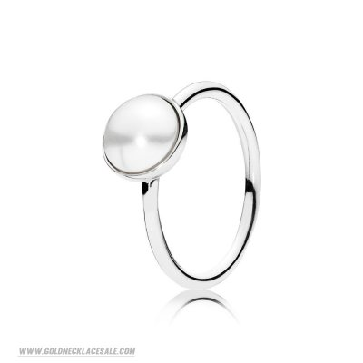 Jewelry Promo Pandora Rings Luminous Droplet Ring White Crystal Pearl