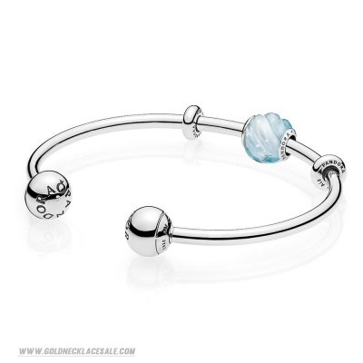 Jewelry Promo Blue Ripples Open Bangle Gift Set