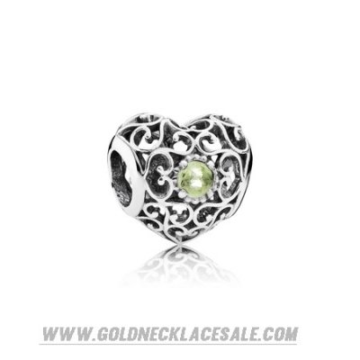 Jewelry Promo Pandora Birthday Charms August Signature Heart Charm Peridot