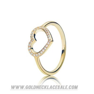 Jewelry Promo Pandora Rings Captured Heart Ring 14K Gold Clear Cz