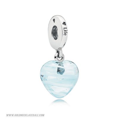 Jewelry Promo Blue Ribbon Heart Dangle Charm, Murano Glass