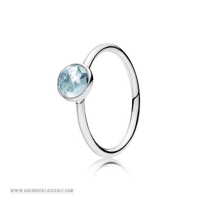Jewelry Promo Pandora Rings March Droplet Ring Aqua Blue Crystal