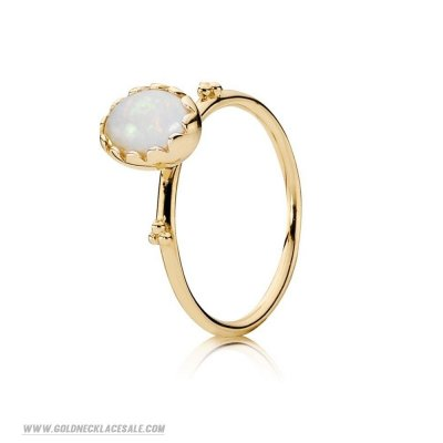 Jewelry Promo Pandora Rings Soft Sweetness Ring White Opal 14K Gold
