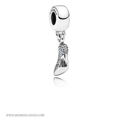 Jewelry Promo Pandora Disney Charms Cinderella Sparkling Slipper Pendant Charm Fancy Light Blue Cz