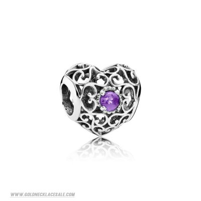 Jewelry Promo Pandora Birthday Charms February Signature Heart Charm Synthetic Amethyst