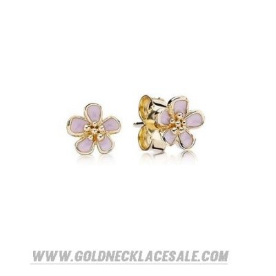 Jewelry Promo Pandora Collections Cherry Blossom Pink Enamel Stud Earrings 14K Gold