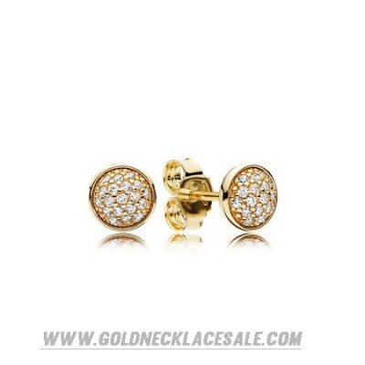 Jewelry Promo Pandora Collections Dazzling Droplets Stud Earrings 14K Gold Clear Cz