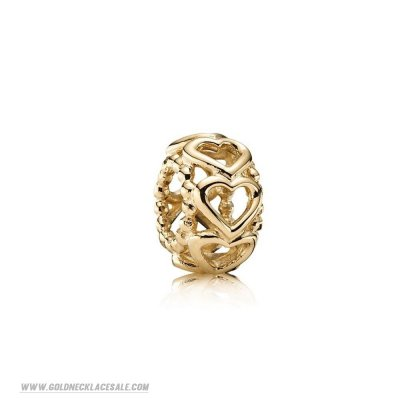 Jewelry Promo Pandora Spacers Charms Lucky In Love Heart Spacer 14K Gold