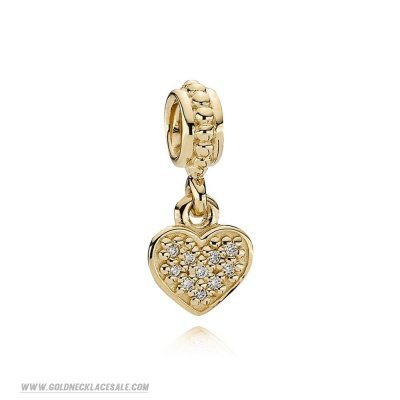 Jewelry Promo Pandora Sparkling Paves Charms Pave Hanging Heart Pendant Charm 14K Gold Diamond