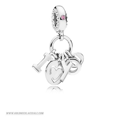 Jewelry Promo I Love You Pendant Charm Fancy Fuchsia Pink Cz