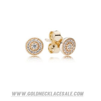 Jewelry Promo Pandora Collections Radiant Elegance Stud Earrings 14K Gold Clear Cz