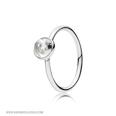 Jewelry Promo Pandora Rings April Droplet Ring Rock Crystal