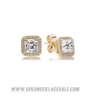 Jewelry Promo Pandora Collections Timeless Elegance Stud Earrings 14K Gold Clear Cz