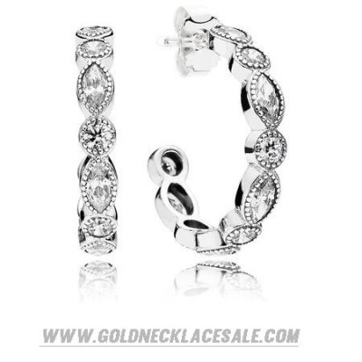 Jewelry Promo Pandora Earrings Alluring Brilliant Marquise Hoop Earrings Clear Cz