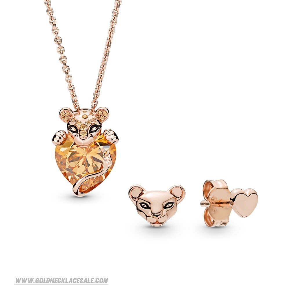 Jewelry Promo Pandora Rose Lioness Necklace And Earrings Gift Set